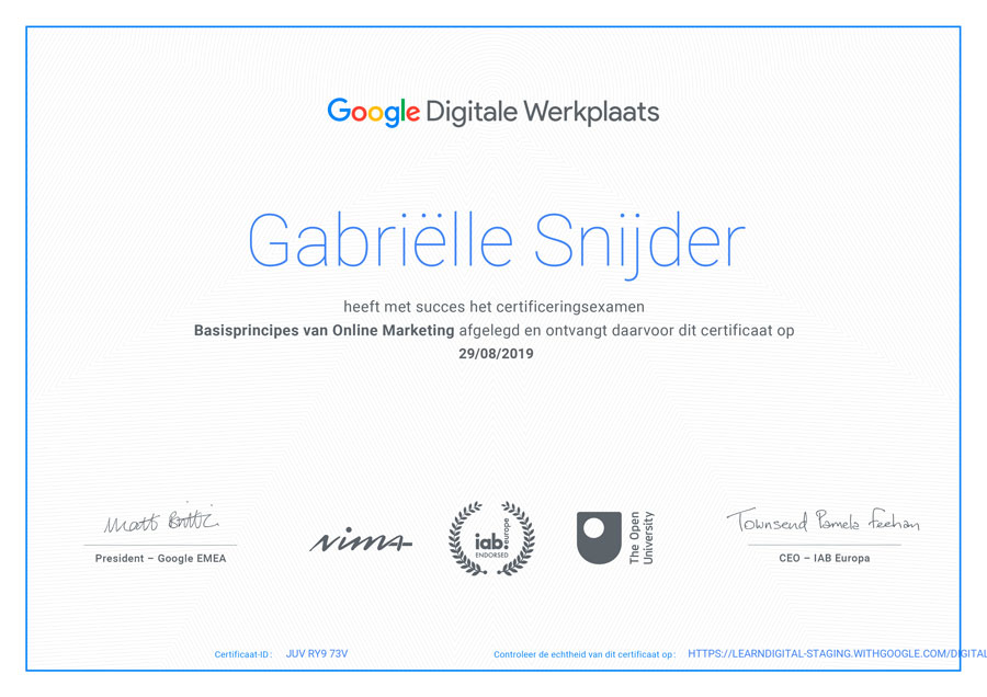 Google Digitale Werkplaats gecertificeerd door NIMA