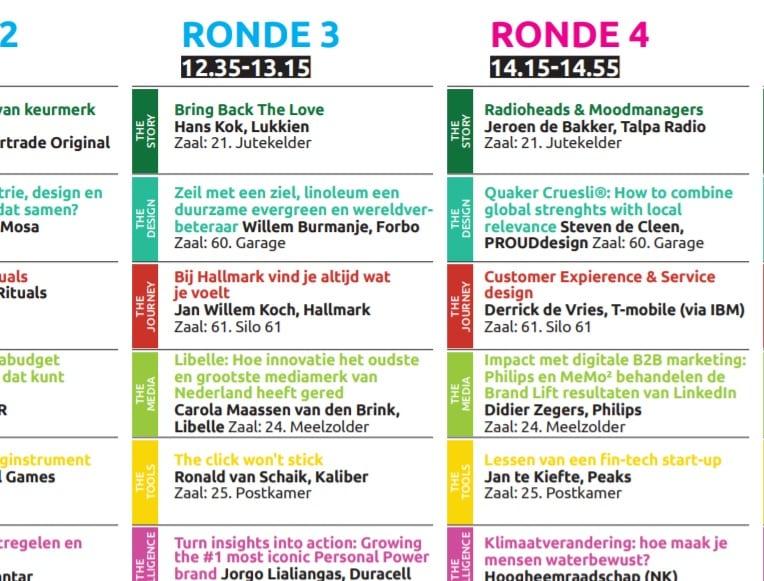 Vijf keer dertien marketingpresentaties op NMD18: hét Blokkenschema